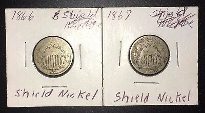 1866 and 1867 5C Shield Nickels