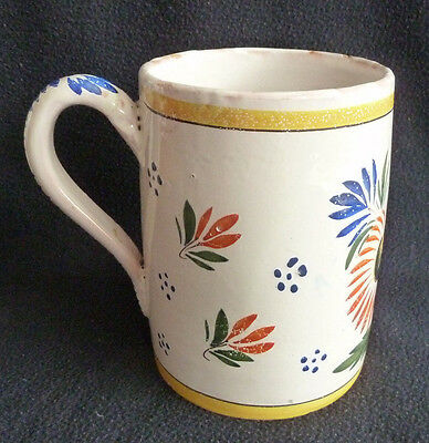 Vintage  Henriot Quimper Pottery Large Tankard Decorative French Rustic