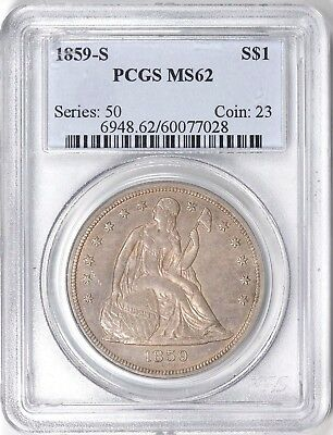 1859-S Seated Liberty Silver Dollar $1 Piece. PCGS MS62 wow