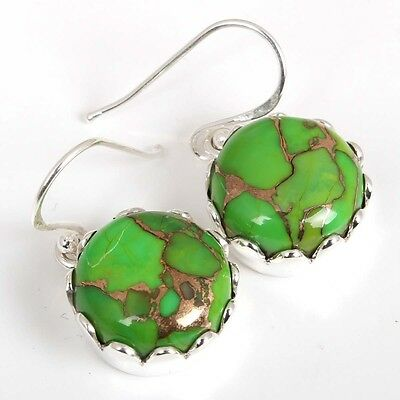 Lovely GREEN COPPER TURQUOISE Round Gemstone 925 Sterling silver Earring C-5679