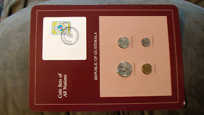 Coin Sets of All Nations Guatemala w/card 1, 5, 10, 25 Centavos 1987 UNC