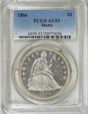 1866 Seated Liberty Silver Dollar. PCGS AU53 Blowout Sale Of Investment Coins!!