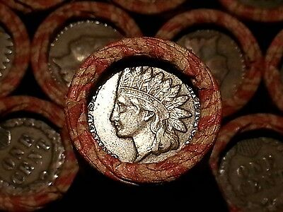 One Lincoln Wheat Cent Penny Roll  Indian Head Both Ends!  1909-1958       Fp28