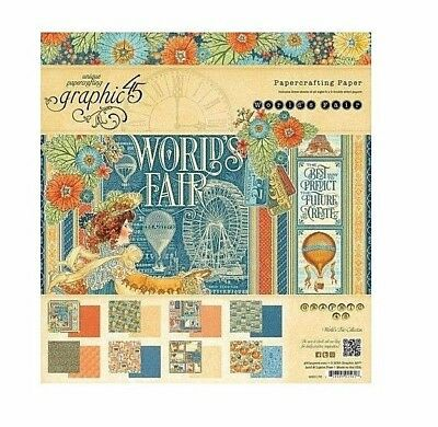 Graphic 45 WORLD'S FAIR 12x12 PAPER PAD Scrapbooking 24 Sheets Double Sided