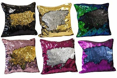 "16"" Mermaid Cushion Cover Double Colour Reversible Sequin Glitter Pillow Case"