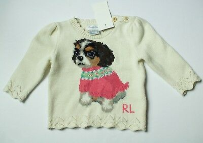 Polo Ralph Lauren Baby girls Infant Puppy Dog Pullover Sweater $85 size 3M
