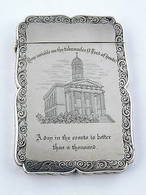 St. GEORGE'S CHURCH CLIFTON SILVER CARD CASE, Birmingham 1847 Nathaniel Mills