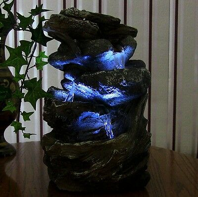 INDOOR WATER FOUNTAIN Tabletop Waterfall LED Light Zen Decor Table ...