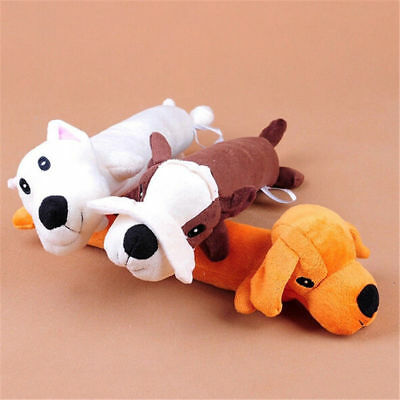 Pet Puppy Plush Sound Cartoon Dog Shape Chew Toy Squeaker Squeaky Play Toys FR