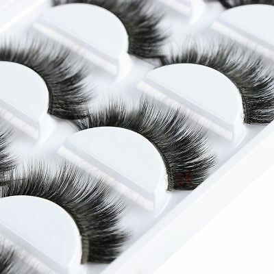 5 Pairs Soft Cross Long Thick False Eyelashes Natural Handmade Makeup Eye Lashes