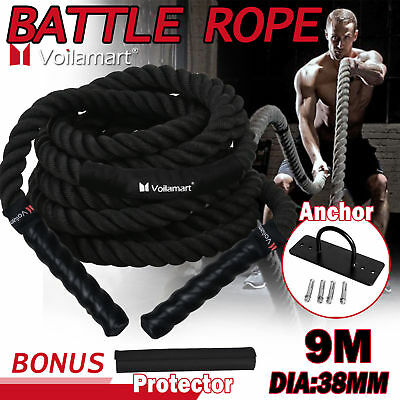9M Battle Rope 38mm Home Gym Fitness Heavy Battling Strength Exercise Anchor
