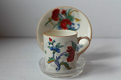 CROWN DUCAL 1920c COFFEE CAN CUP DEMI TASSE & SAUCER FLORAL ESPRESSO
