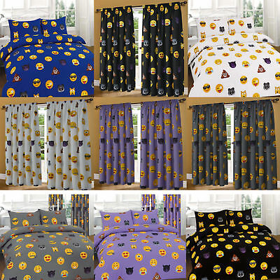 Emoji Duvet Cover With Pillowcase Curtain Single Double Super King Bedding Set