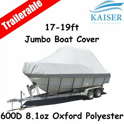 Premium 17-19ft 5.2-5.8m Heavy Duty 600D Canvas Trailerable Jumbo Boat Cover Gre