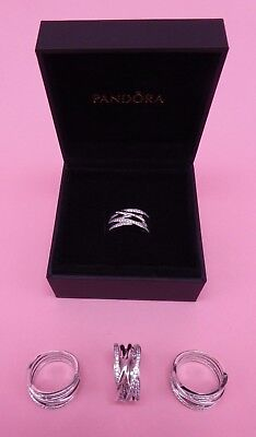 Genuine Authentic PANDORA Entwining Silver Rings 190919CZ Size 54 NEW Silver
