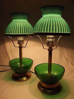 2 Vintage green milk glass shade lamps brass candy dish small antique gwtw 1950s