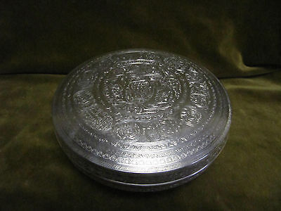 antique (1900-1940) egyptian coin silver (900) islamic large round box 414g
