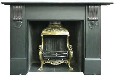 Restored large late Victorian slate fireplace surround. Circa 1880. (17-803)