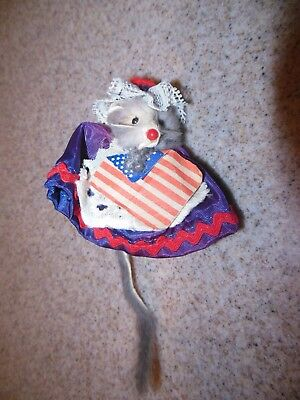 Vintage Miniature Fur Mouse PATRIOTIC BETSY ROSS w FLAG Little Mouse Factory