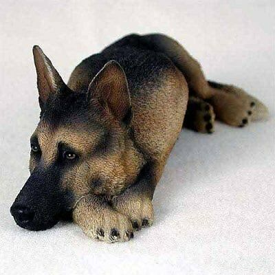 German Shepherd My Dog Realism Painted Figurine Home Decorative Statue Tan&Black