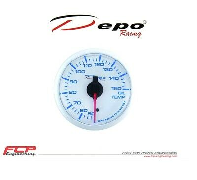 Depo Racing Blau / Weiss Öltemperatur Anzeige / Oil Temperature Gauge Wbl5247W