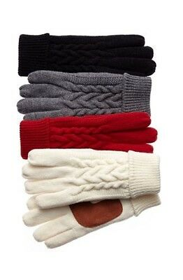 NEW NWT Women ISO Isotoner Fleece Line Cable Knit Thinsulate Ultra Winter Gloves