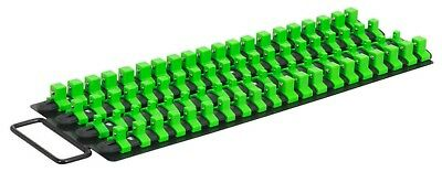 "Socket Rail Tray Hi-Vis Green 1/4"", 3/8"" & 1/2""Sq Drive 80 Sockets Clips SEALEY"