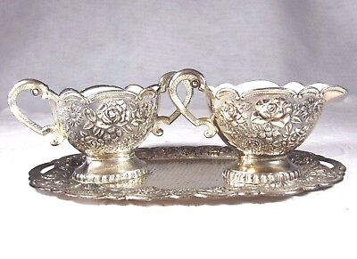 Vintage Collectible Silver Plated Creamer & Sugar with Enamel Lining