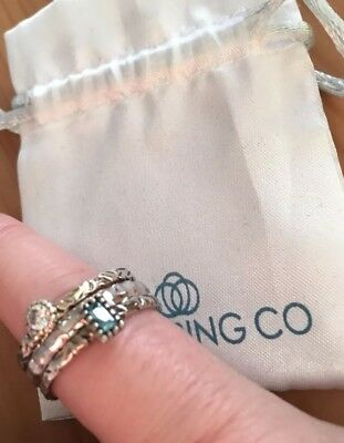 Genuine Hallmarked Stack Ring Co -Silver Rings 925 - Size O Perfect Gift