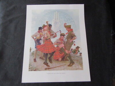 A Good Sign All Over the World, Norman Rockwell Boy Scout Print 11 x 14   cp