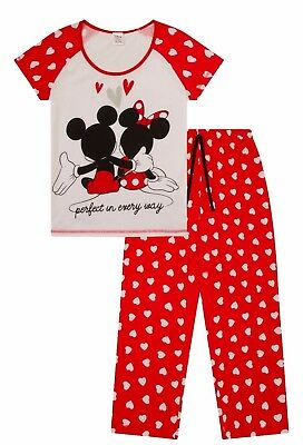 Disney Minnie and Mickey Mouse Perfect In Everyway Long Ladies Pyjamas Pjs