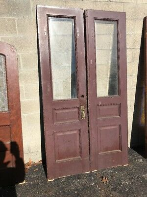Phil 14 Match Pair Oak Entry Door Beveled Glass 46.5 X 85
