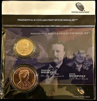 2013 THEODORE TEDDY EDITH ROOSEVELT Presidential $1 COIN FIRST SPOUSE MEDAL SET