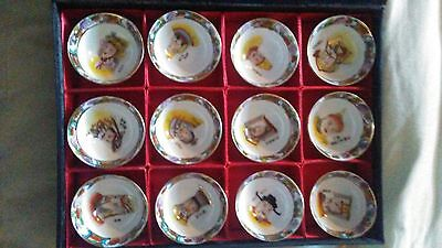 Fine antique 12 Chinese emperors porcelain teacups signed