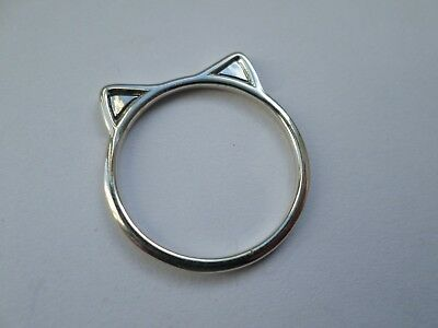Cute sterling silver pussy cat ears ring UK size S