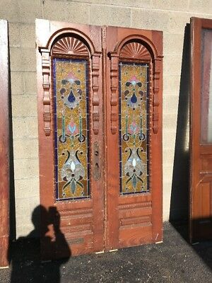 Phil 18 antique match Pair entry doors stained glass Jewels 47.5 x 83.75 carved