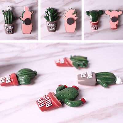 Cute Cactus Resin Removable Fridge Magnet Sticker Home Kitchen Decor