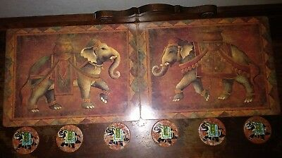 ELEPHANT ART: 2 Pimpernel Place Mats; 6 Hand-Painted Marble Coasters Gold Detail
