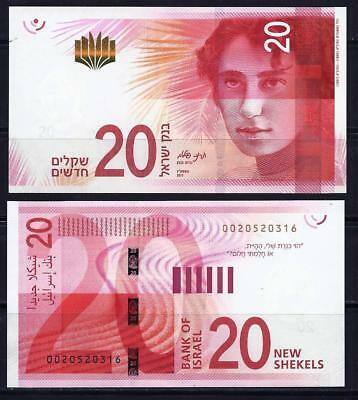 Israel 2017 New Banknote 20 Sheqel NIS Money UNC safe packaging