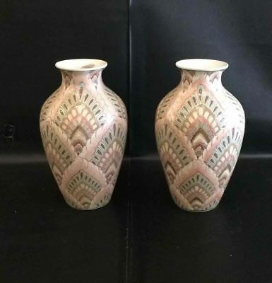 """Set of 2 Vases Rustica by Toyo """"Flame Stich Design"""" HFP Macau Made in China"""