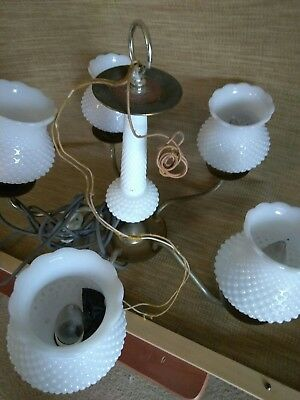 Vintage White Hobnail Milk Glass Globe 5 Light Lamp Chandelier Hurricane Shades