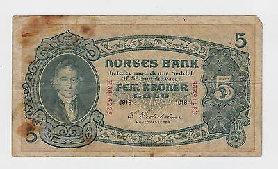 Norway - 1918, Five (5) Kroner