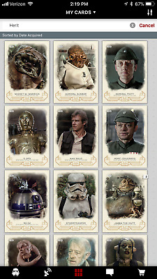 Topps Star Wars Card Trader Galactic Heritage Return of the Jedi 16 Card Set!