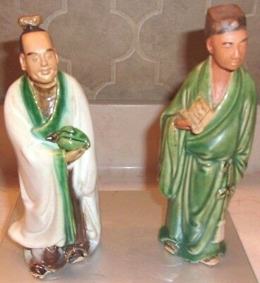 """Vintage Pair of Antique Chinese Mudmen Approx 7"""" ea Marked """"China"""" -Very Nice"""