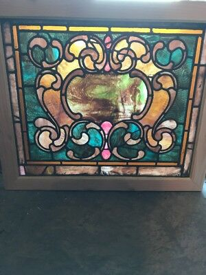 SG 1686 antique Stainglass landing window 20 8H by 32.7 5W ripple