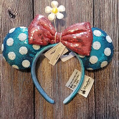 Disney Parks Teal Polka Dot Minnie Ears Sequin Headband Hat with Flower