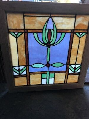 SG 1687 antique palm coast Stainglass landing window 28.5 x 29