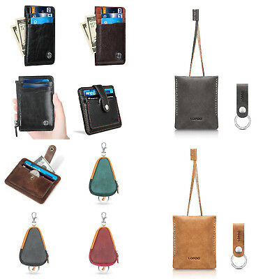 Bueno Leather Vintage RFID Blocking Slim Card Holder Wallet Coin Purse Keyring