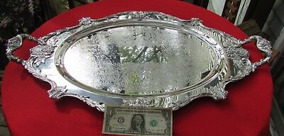 "RARE Christopher Wren Pattern 31"" Long Serving Tray By Wallace Silver Plate 13#"