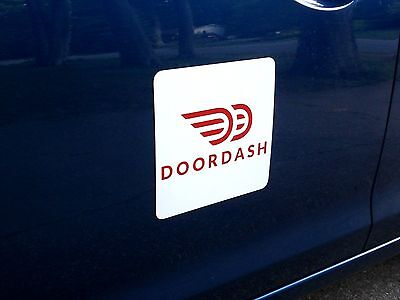 "(2) DOORDASH  100% Magnetic CAR VEHICLE SIGNS   8"" x 8"" FREE SHIPPING!"